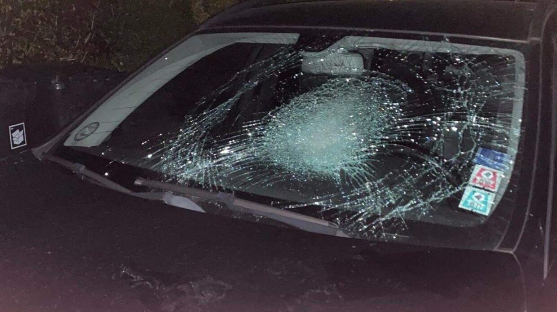 Sådan så forruden ud på den ene af familiens to biler efter mødet med gerningsmændene.