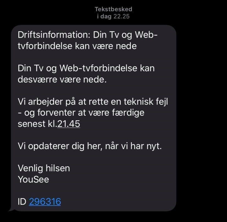 Her den besked Yousee-kunder fik tilsendt i forbindelse med nedbruddet.