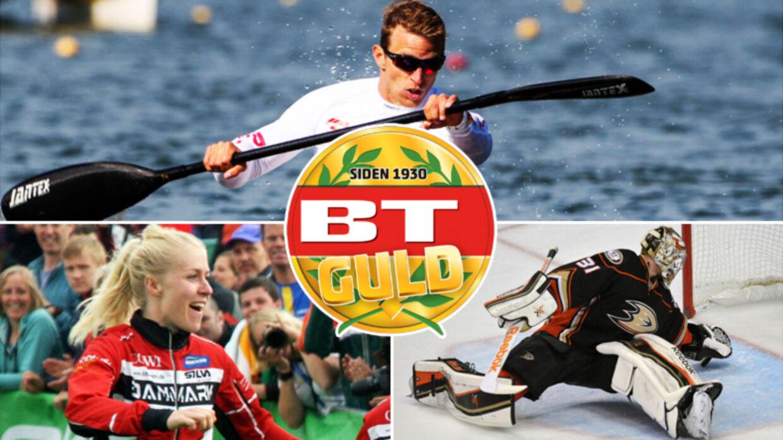 De kæmper om BT Guld, der uddeles lørdag, 9. januar i Boxen i Herning. Øverst René Holten Poulsen, nederst til venstre Maja Alm og nederst til højre Frederik Andersen.