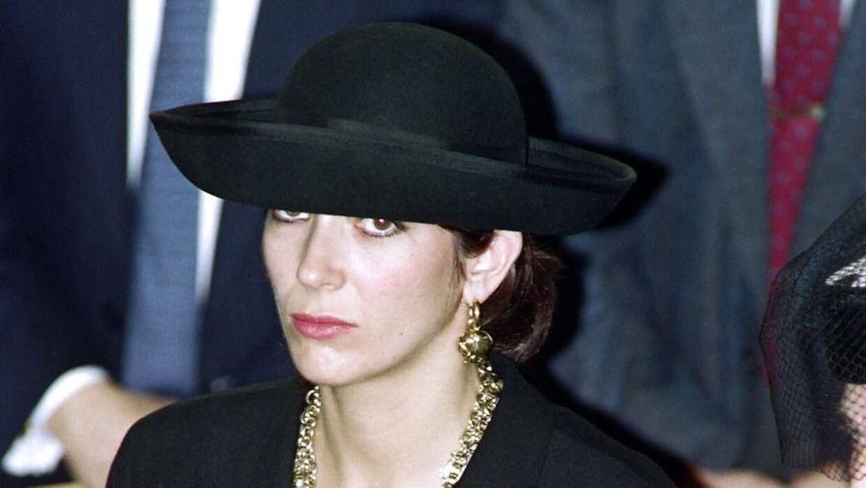 Ghislaine Maxwell til begravelsen af sin far, Robert Maxwell, i Israel i 1991. AFP.