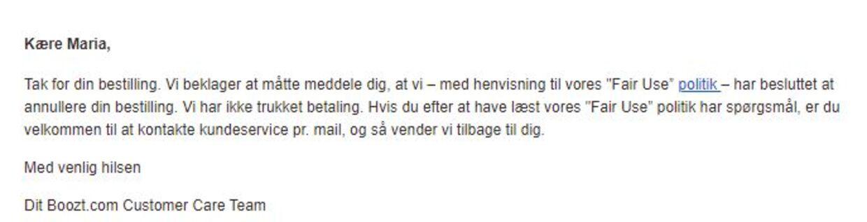Denne besked modtog Marie Lauridsen fra boozt.com onsdag.