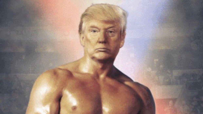 Donald Trump som Rocky. Præsidenten tweetede torsdag dette foto af sit eget hoved på Sylvester Stallones krop.