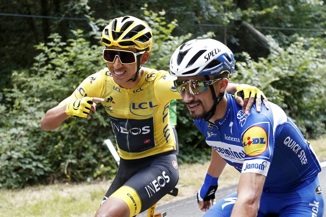 Julian Alaphilippe og Egan Bernal under årets Tour de France.