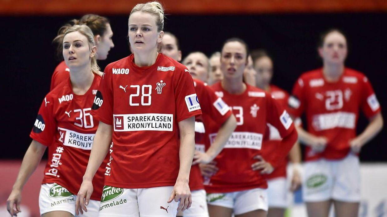 Det danske landshold efter nederlaget til Tyskland.