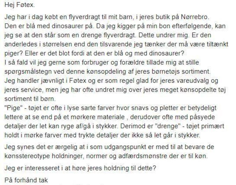 Anna valgte at skrive til Føtex via deres Facebookside