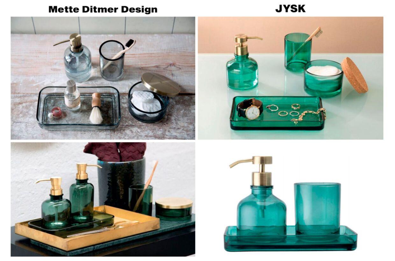 Til venstre ses produkterne fra Mette Ditmer Design, mens de påståede kopier fra JYSK er til højre.