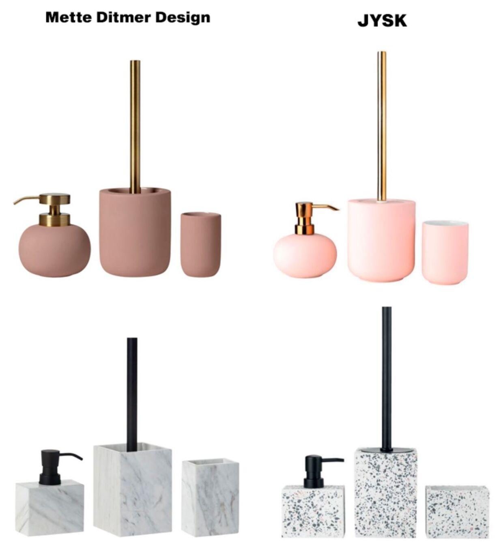 Til venstre ses produkter fra Mette Ditmer Design og til højre produkterne fra JYSK, de påståede kopier.