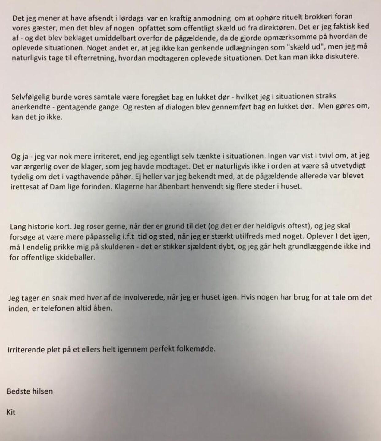 Denne mail sender politidirektøren 24. juni om klager mod hende. Foto: Privat