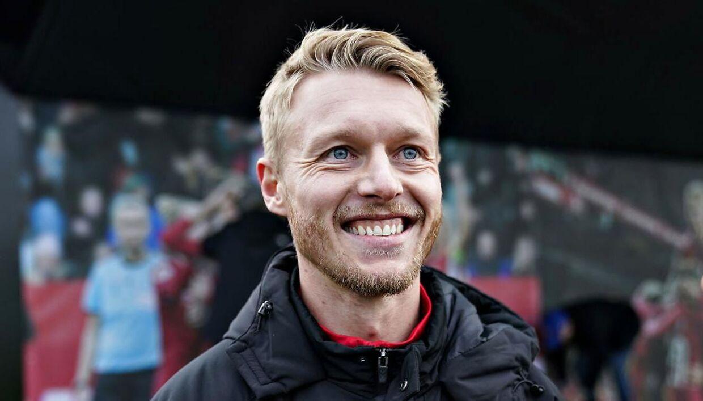 Simon Kjær i landsholdslejren, hvor han er fast mand. Det er han ikke i Atalanta.