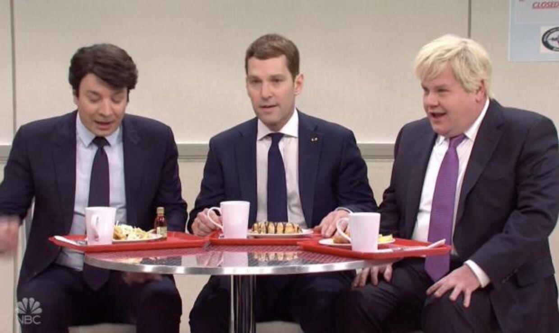 Jimmy Fallon, Paul Rudd og James Cordon giver den som Justin Trudeau, Emmanuel Macron og Boris Johnson.