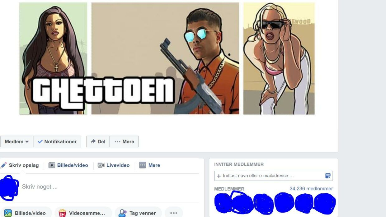 Sådan ser facebookgruppen 'Ghettoen' ud.