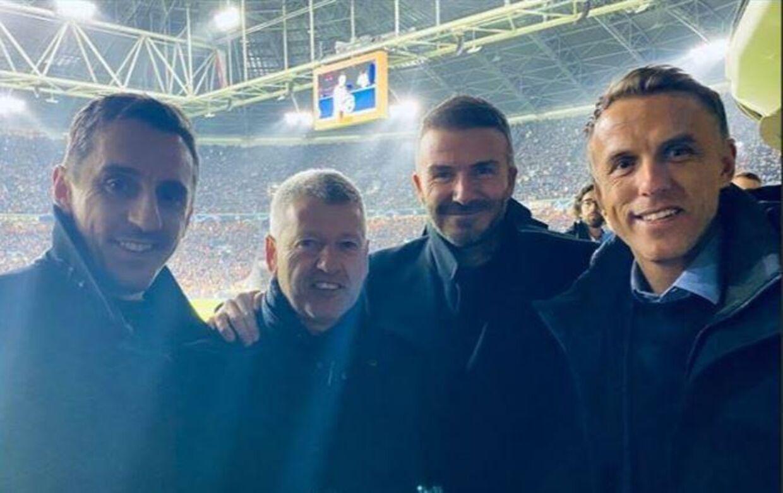 Fra venstre: Gary Neville, Jesper Olsen, David Beckham og Phil Neville.