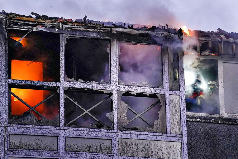Brand i etageejendom på Stodal i Hobro, 8. december 2019.. (Foto: Henning Bagger/Ritzau Scanpix)