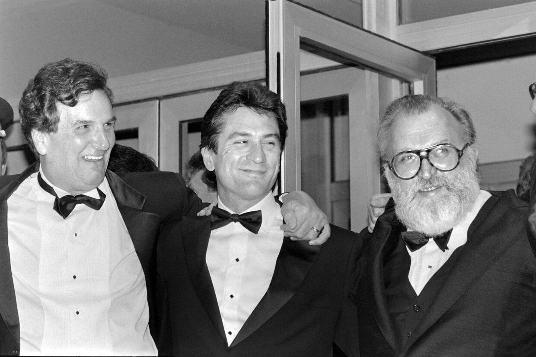 """Danny Aiello sammen med Robert de Niro og den italienske filminstruktør Sergio Leone ved fremvisning af filmen »Once upon a time in America""""."""
