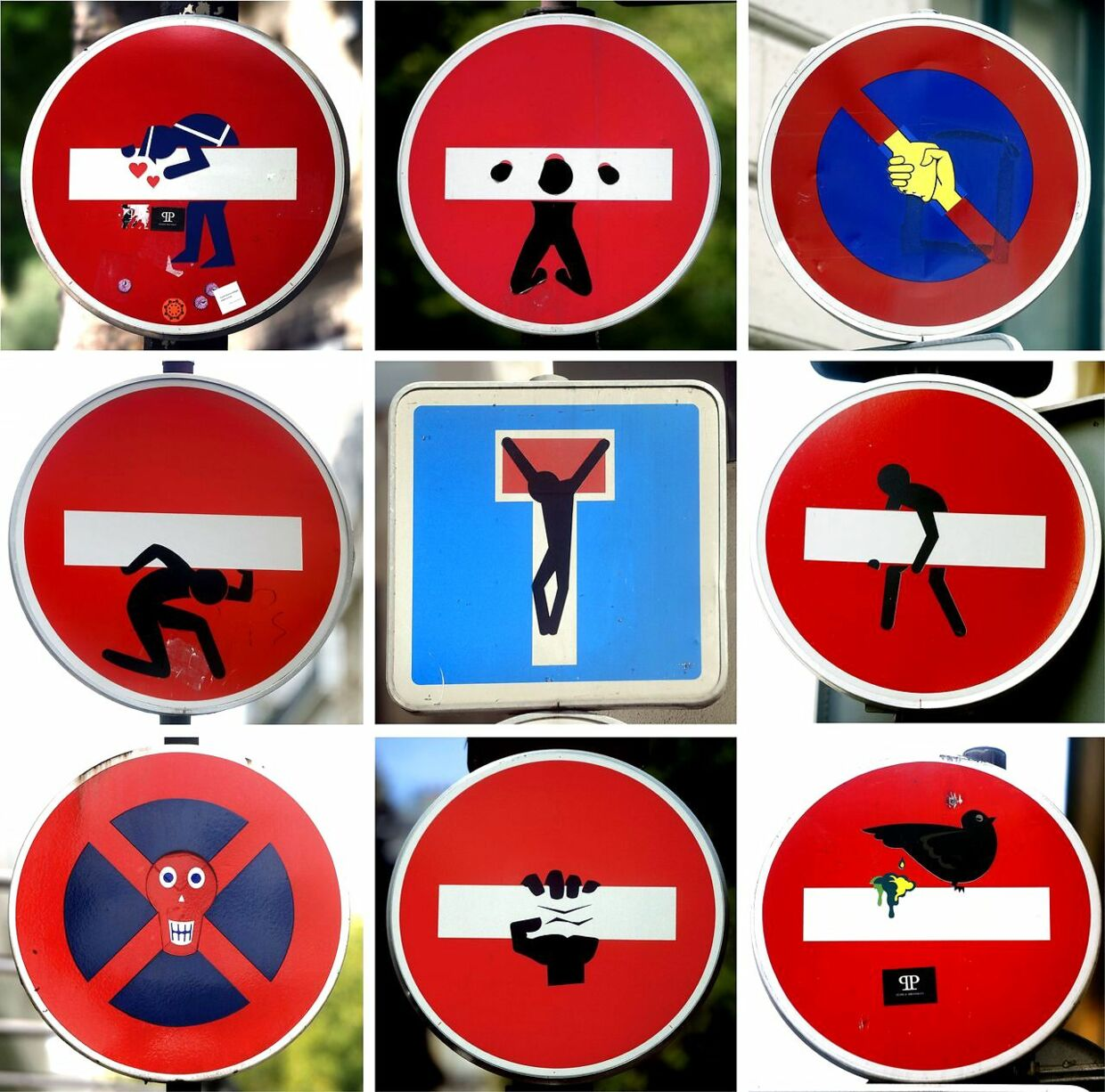 A combination of pictures taken on August 5, 2014 in Paris shows French street signs, hacked by French street artist Clet Abraham. AFP PHOTO/DOMINIQUE FAGET = RESTRICTED TO EDITORIAL USE, MANDATORY MENTION OF THE ARTIST UPON PUBLICATION, TO ILLUSTRATE THE EVENT AS SPECIFIED IN THE CAPTION =