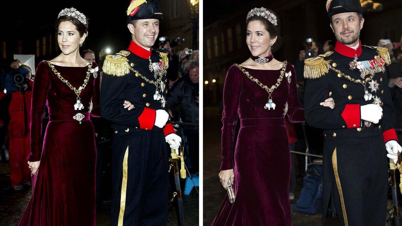 Kronprinsesse Mary og kronprins Frederik ved nytårstaflet i henholdsvis 2012 og 2014.