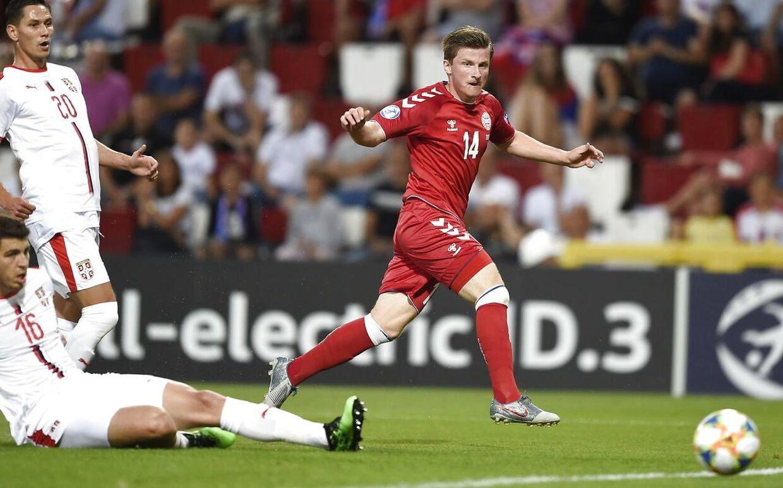 Anders Dreyer i aktion for Danmark i en U21-landskamp mod Serbien tilbage i juni måned