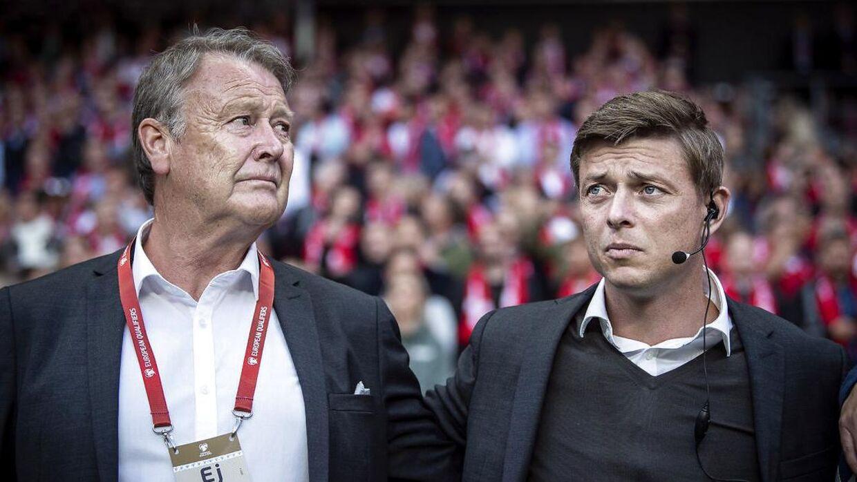 Danmarks Landstræner Åge Hareide og ass. træner Jon Dahl Tomasson under EM-kvalifikationkampen mellem Danmark - Irland i Telia Parken, fredag den 7 juni 2019.
