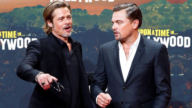 """Brad Pitt og Leonardo DiCaprio til premieren på """"Once Upon a Time in Hollywood"""", i Berlin den 1. august, 2019."""