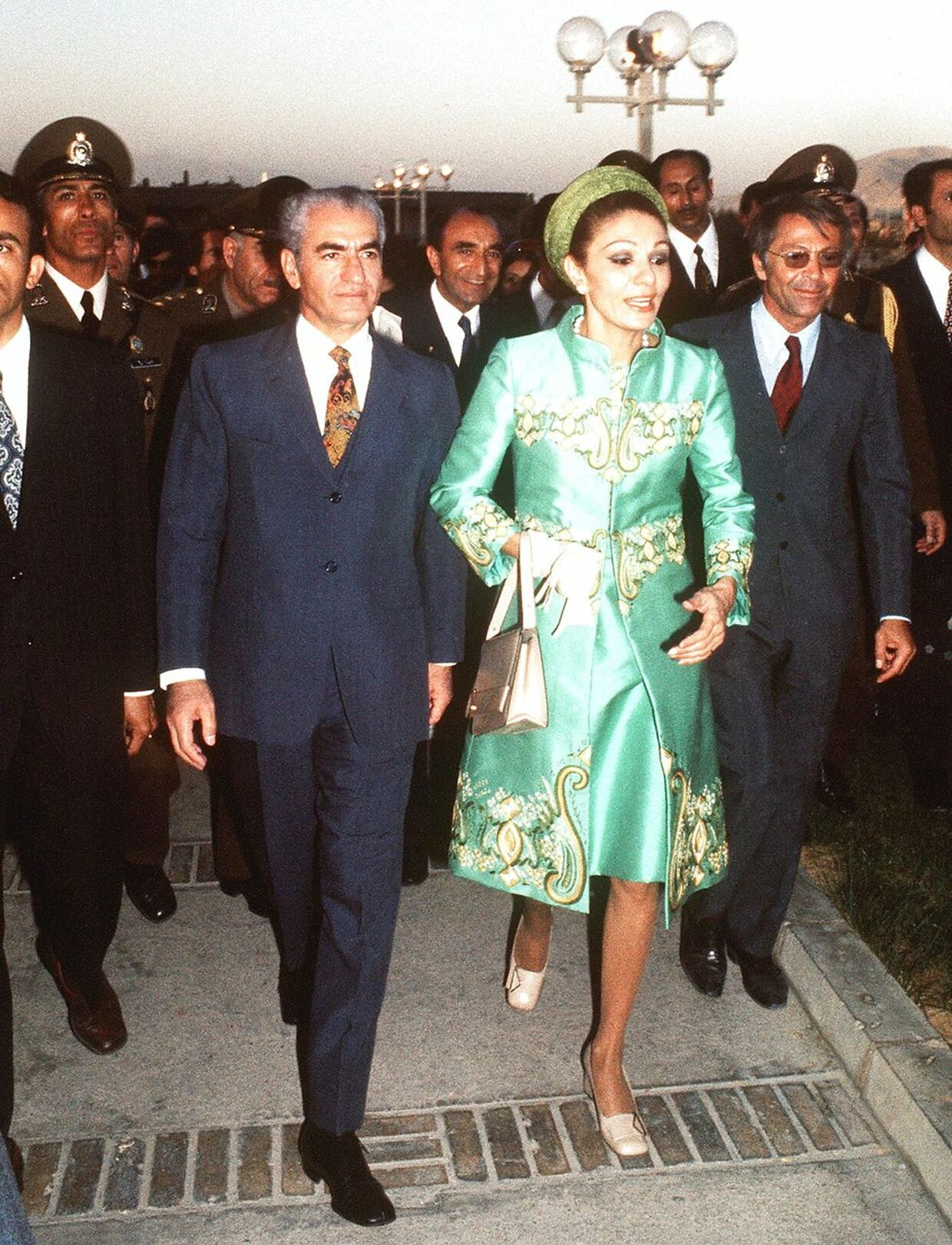 Picture dated October 1971 of Chah Mohammed Reza Palhavi and his wife, Iranian impress Farah Diba, arriving at a commemoration of the 2500th anniversary of the Persian empire in Persepolis. STF / AFP