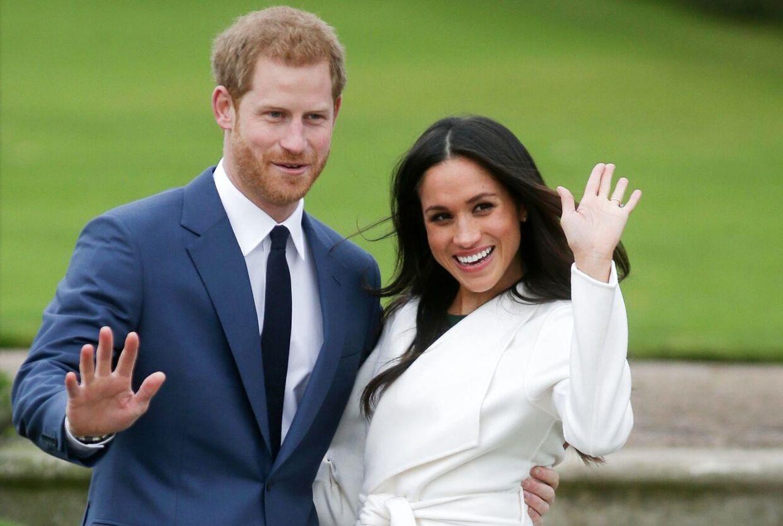 Parret ved deres forlovelse på Kensington Palace i London i efterårets 2017. (Arkivfoto)
