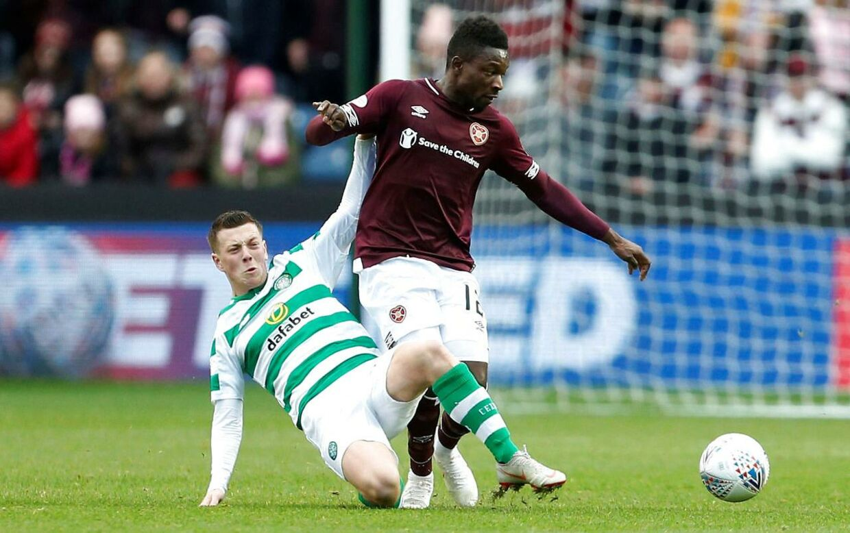 Amankwaa i aktion for Hearts i den skotske liga