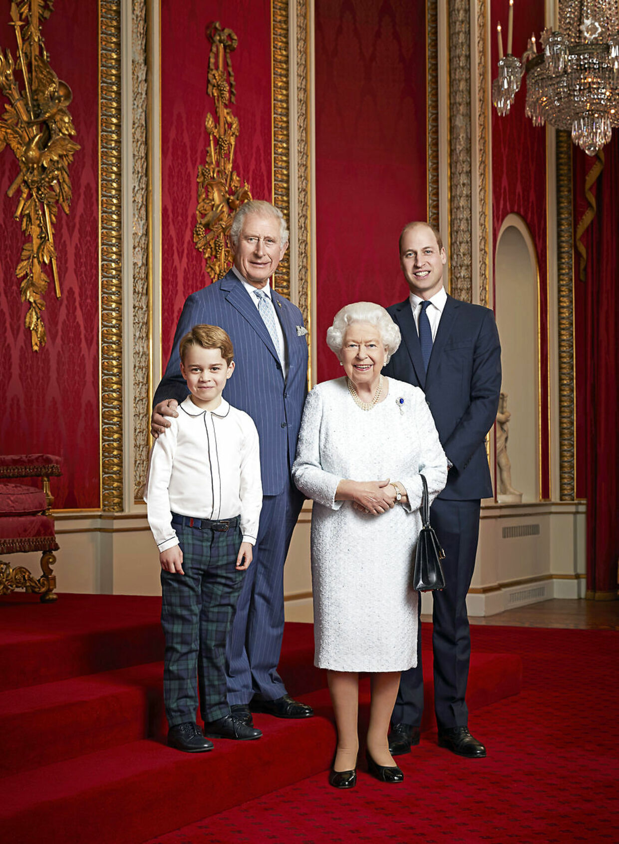 Britain's Queen Elizabeth II, Prince Charles, Prince William Prince George pose for a portrait to mark the start of a new decade, in the Throne Room at Buckingham Palace in London, Britain December 18, 2019. Ranald Mackechnie/Handout via REUTERS. THIS IMAGE HAS BEEN SUPPLIED BY A THIRD PARTY.NO RESALES.NO ARCHIVES.NO SALES. NOT FOR USE AFTER JANUARY 15, 2020 WITHOUT PRIOR PERMISSION FROM ROYAL COMMUNICATIONS. MANDATORY CREDIT. THIS HANDOUT PHOTO MAY ONLY BE USED IN FOR EDITORIAL REPORTING PURPOSES FOR THE CONTEMPORANEOUS ILLUSTRATION OF EVENTS, THINGS OR THE PEOPLE IN THE IMAGE OR FACTS MENTIONED IN THE CAPTION. REUSE OF THE PICTURE MAY REQUIRE FURTHER PERMISSION FROM THE COPYRIGHT HOLDER.