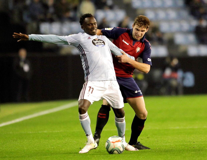 Pione Sisto er igen begyndt at få spilletid i Celta Vigo efter tilgangen af træner Óscar García. Her ses danskeren i aktion mod Osasuna.