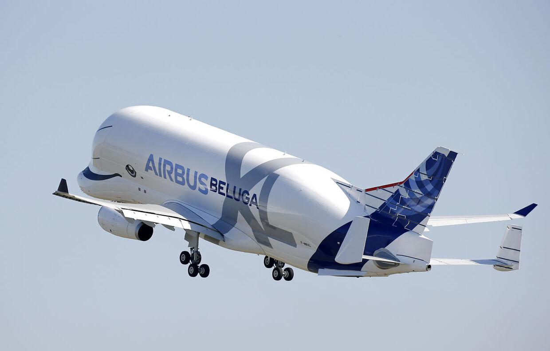 Her stiger Airbus nye 'Beluga XL' op i skyerne ved den første flyvetur på Toulouse-Blagnac lufthavnen i Frankrig.