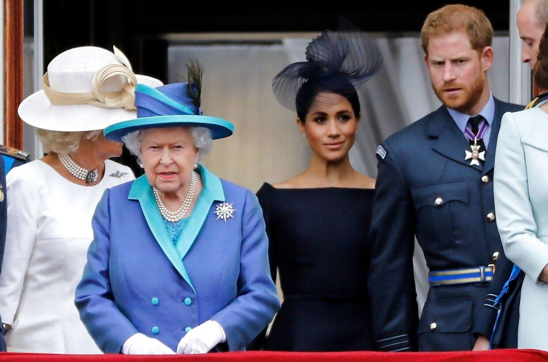 Meghan og Harry på balkonen med dronning Elizabeth i sommeren 2018. (Arkivfoto)