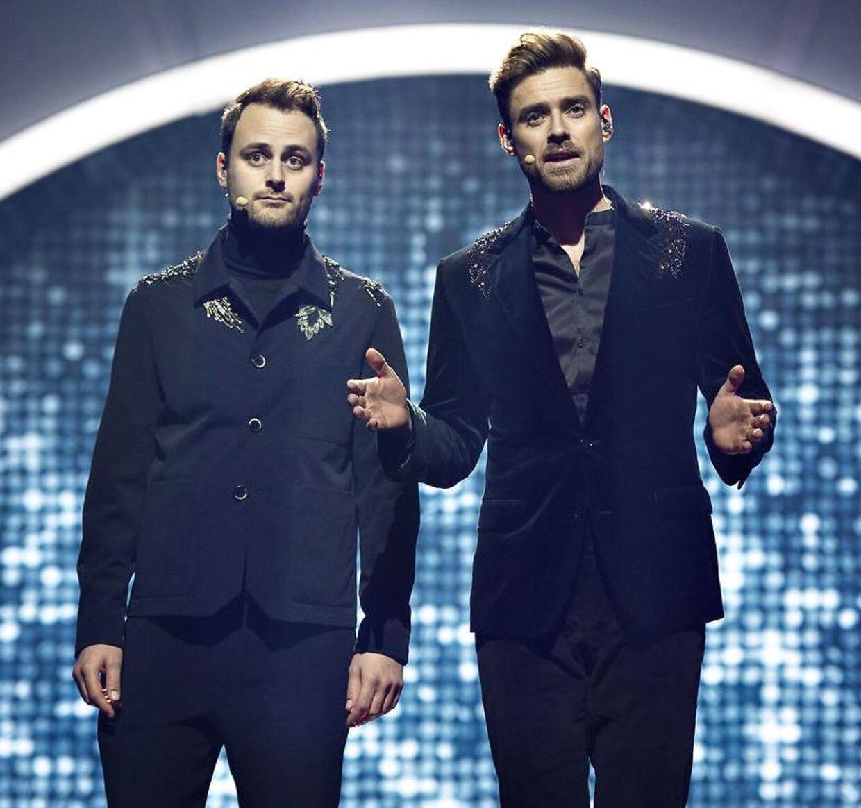 Sidste år var Kristian Gintberg og Johannes Nymark værter ved dansk Melodi Grand Prix i Boxen i Herning.