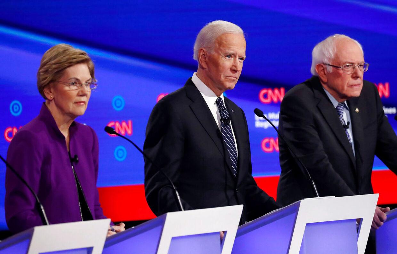 Fra venstre Elizabeth Warren, Joe Biden og Bernie Sanders.