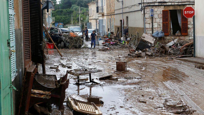 Sådan så der ud i byen Sant Llorenc de Cardassar på Mallorca efter et skybrud i oktober 2018, som kostede flere mennesker livet.