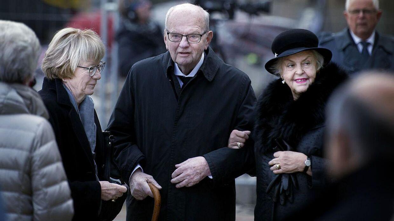 Søren Haslund-Christensen og Marianne Haslund-Christensen ankommer til Castrum Doloris i februar 2018 for særligt indbudte i Christiansborg Slotskirke, da prins Henrik er død.