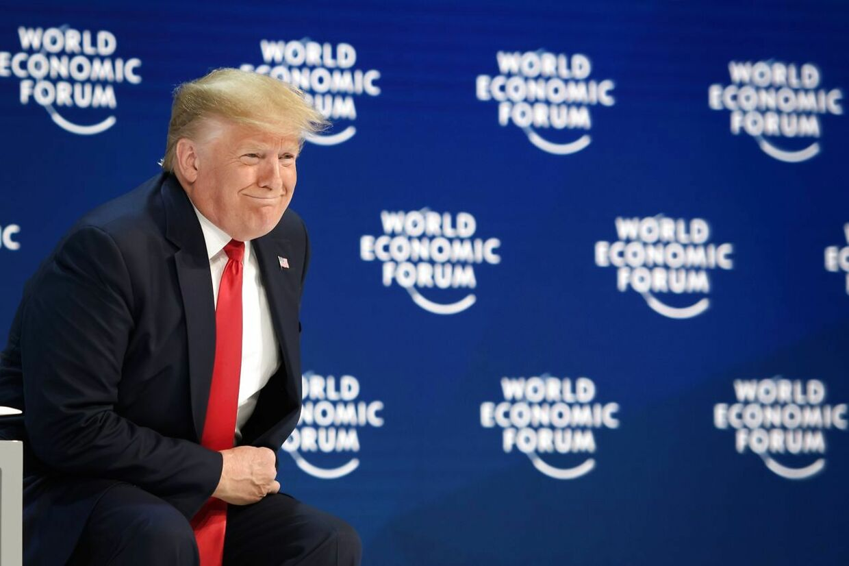 US President Donald Trump looks on prior to deliver a speech at the Congress center during the World Economic Forum (WEF) annual meeting in Davos, on January 21, 2020. (Photo by Fabrice COFFRINI / AFP)