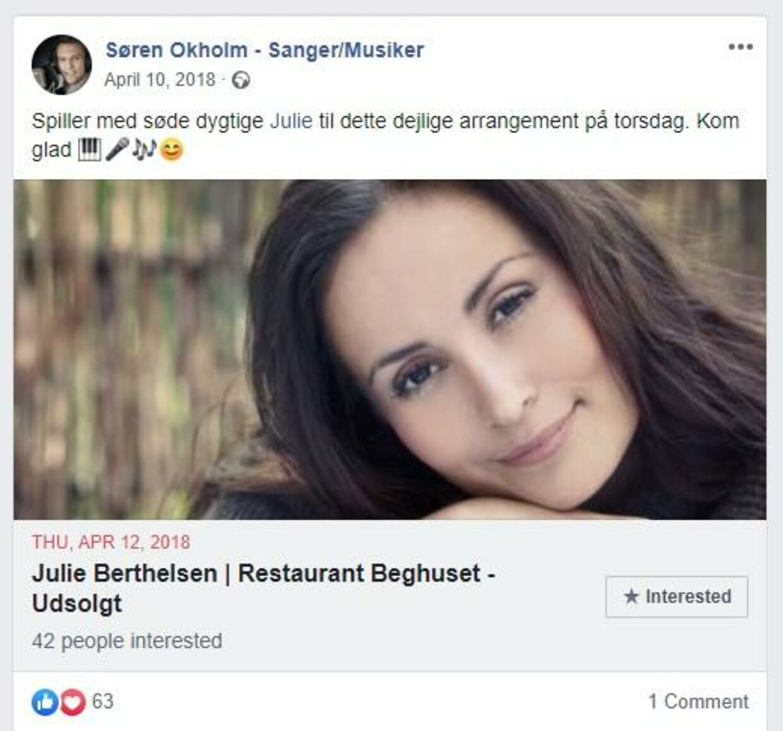 Screenshot fra Søren Okholms Facebook-profil.