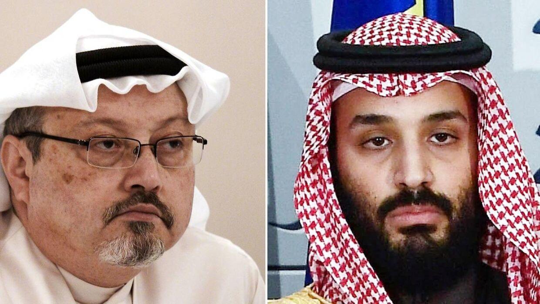 Til venstre journalist Jamal Khashoggi, som blev dræbt i efteråret 2018. Til højre kronpris Mohammed bin Salman, der nægter at have beordret drabet.