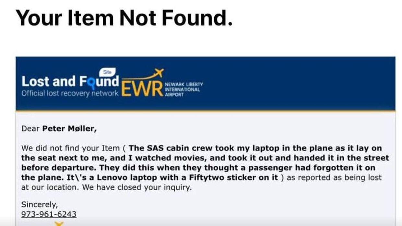 Her kan du se e-mailsvaret fra lufthavnen i Newark Lufthavn.