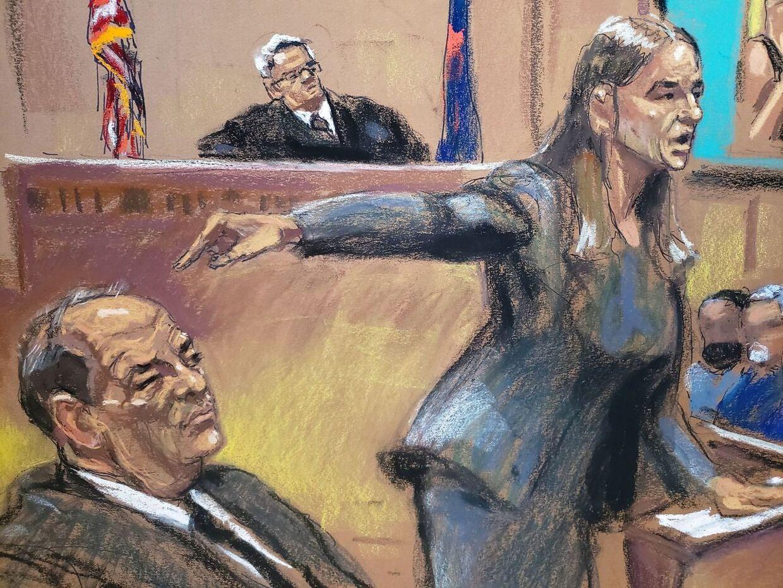 Anklager Meghan Hast peger under retssagen i New York på den voldtægtsanklagede filmproducer Harvey Weinstein.