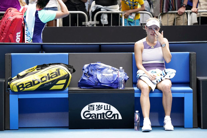 Caroline Wozniacki efter sin tenniskarrieres sidste kamp.