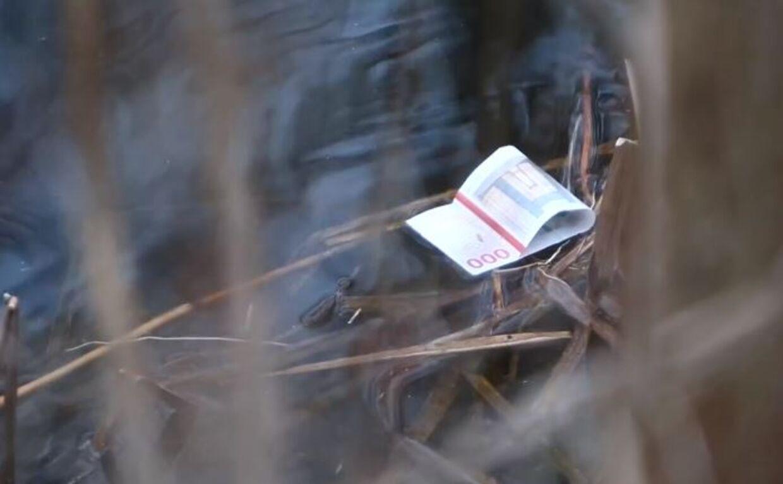 En af utallige tusindkronesedler, som lå og flød i Utterslev Mose torsdag 16. januar.