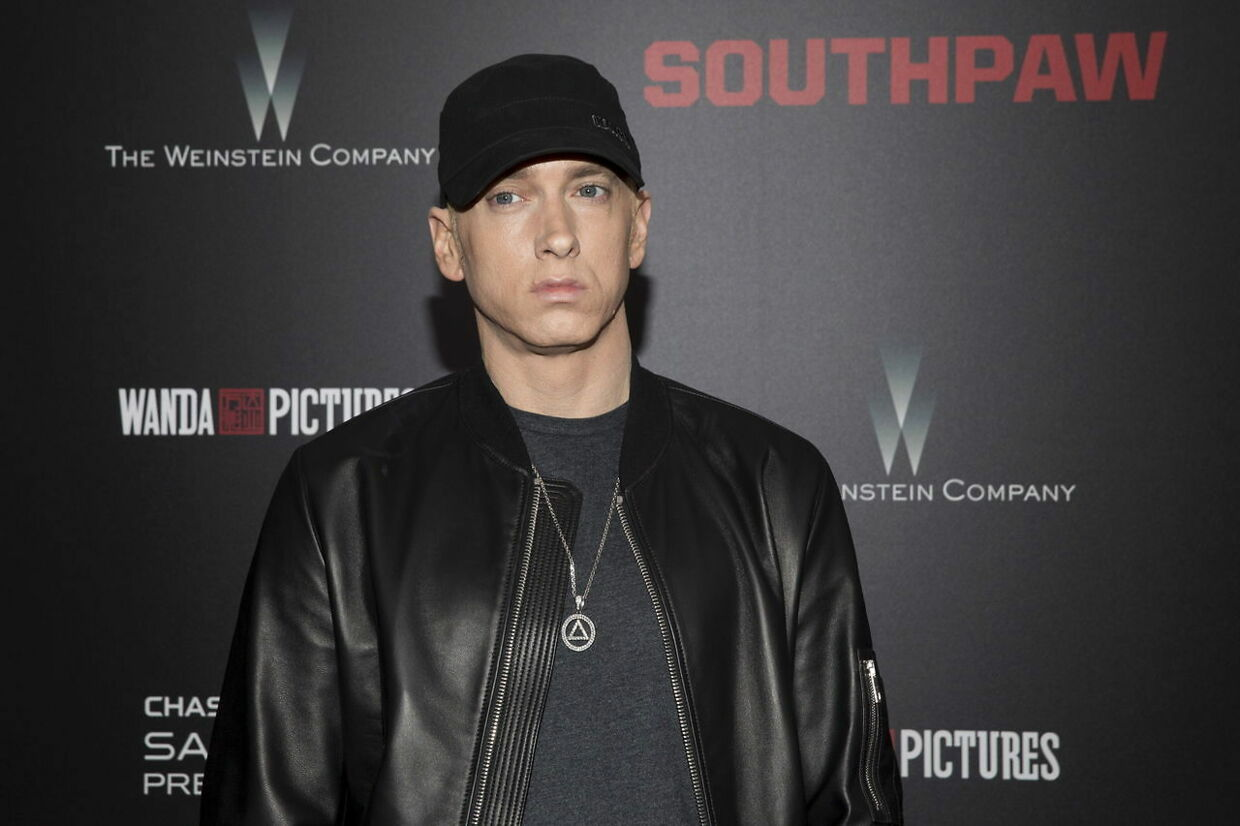 """Musician Eminem attends the premiere of """"Southpaw"""" in New York July 20, 2015. REUTERS/Andrew Kelly"""