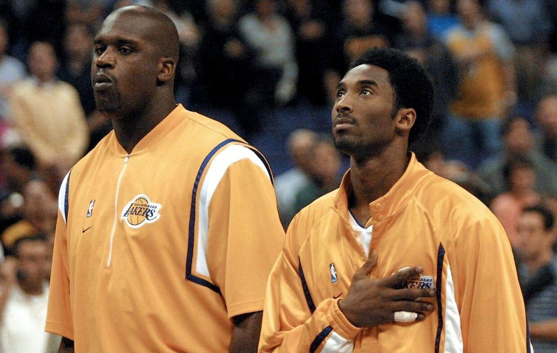 Shaquille O' Neal (tv.) spillede sammen med Kobe Bryant i Los Angeles Lakers fra 1996 til 2004.