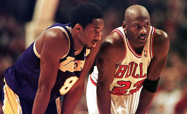 Michael Jordan (th.) nåede at spille over for Kobe Bryant flere gange i sin karriere.