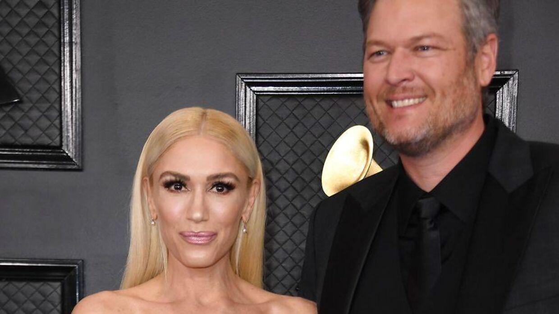 Gwen Stefani og kæresten Blake Shelton ved årets udgave af The Grammy Awards i Los Angeles.