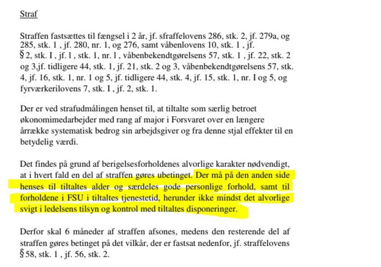 Af dommen mod majoren fremgår det tydeligt, at ledelsens svigt er en formildende omstændighed ved strafudmålingen.