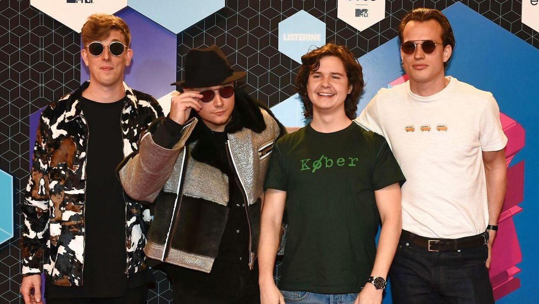 Bandet Lukas Graham med medlemmerne (fra venstre) Morten Ristorp, Mark Falgren, Lukas Forchhammer og Magnus Larsson.