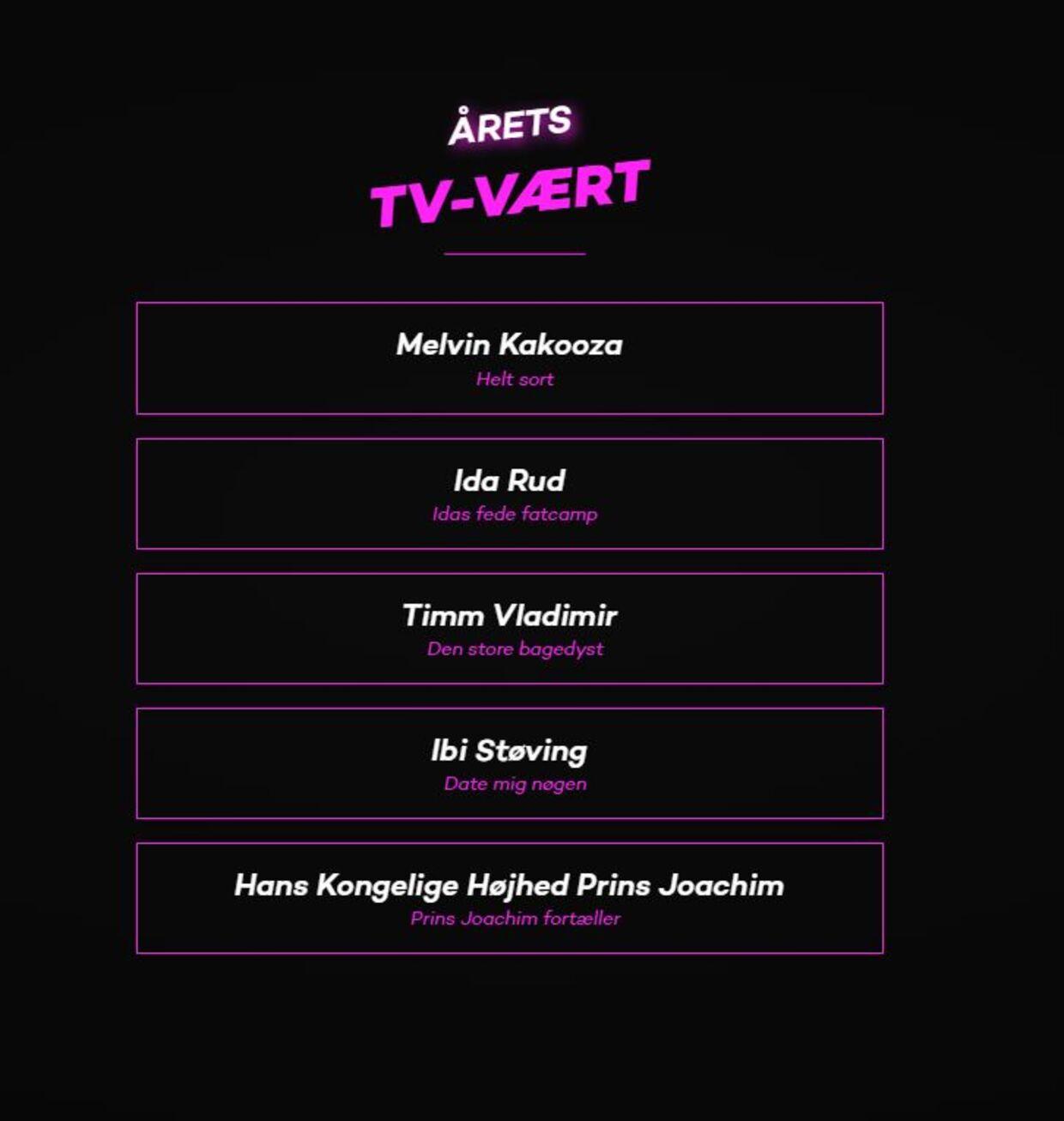 De nominerede til prisen 'Årets tv-vært'.