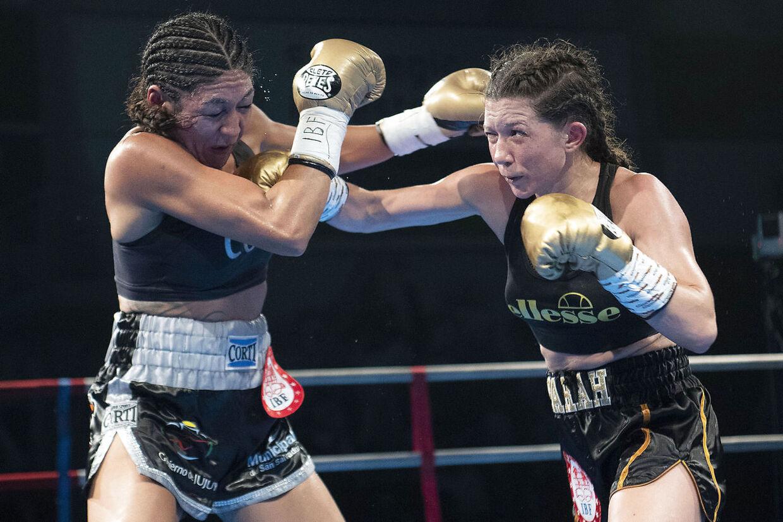 Sarah Mahfoud satte mange hårde stød ind på sin modstander. (Foto: Thomas Sjørup/Ritzau Scanpix)