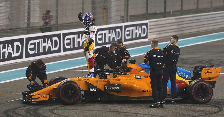Fernando Alonso ses her til grandprixet i Abu Dhabi tilbage i 2018, hvor han kørte sit sidste Formel 1-løb